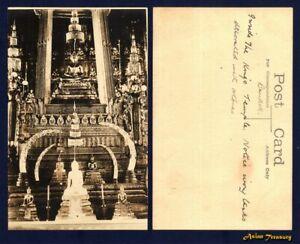 OLD SIAM THAILAND POSTCARD SHOWING BUDDHA STATUE BANGKOK UNUSED