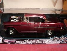 "MotorMax 1955 Chevrolet Bel Air ""Blower"" 1/18th scale NIB cherry red exterior"