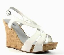 GUESS Tarissa Wedge Platform White Leather Ankle Strap Sandal Size 10