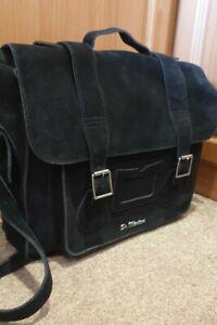 """STUNNING! Dr Martens 15"""" Black Suede/Leather Satchel/Bag"""