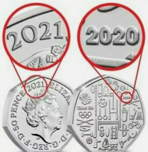2021 DUAL DATED Tokyo Olympics Team GB 50p coin Brilliant Uncirculated Fifty