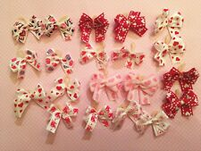 20 Tiny XSM Dbl Lpd Valentine's Day Dog Bows Grooming Bows Baby Maltese Yorkie