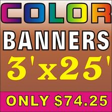 3'X25', 74.25usd Custom outdoor banner, indoor banner full colour Vinyl Banner
