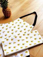 Tea Towel Bee Happy 100% Cotton Kitchen White and Yellow Original Design