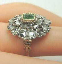 Victorian Colombian Emerald Rose Diamond 18K STG Engagement Ring Size 6 UK-L1/2