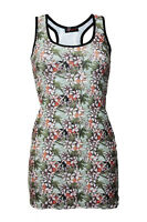 Women's Vintage Tropical Floral Oriental Retro Print Long Vest Tank Top Tee