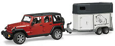 Bruder Toys Kids JEEP Wrangler Unlimited Rubicon w/ Horse Trailer & Horse 02926