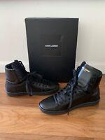 $545 Saint Laurent Court Classic Leather High-Top Sneakers SL/01H Black 41 US 8