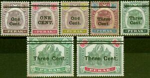 Perak 1900 Surcharge Set of 7 SG81-87 Fine Unused