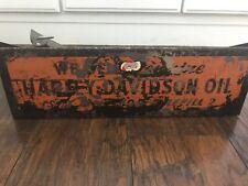 Vtg Harley Davidson Oil Rack Catalog Display For Store Counter Tin Metal Sign