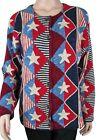 Design Options Philip Jane Gordon Stars Patriotic Flag Cardigan Sweater MED