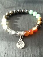 Tree of Life Abundance Gemstone Bracelet Citrine Quartz Tigers Eye Feng Shui