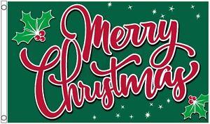 Merry Christmas Holly 5'x3' Flag