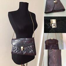 Vintage 1970s Snakeskin Leather Chain Strap Disco Shoulder to Clutch Bag Purse