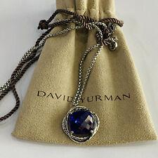 David Yurman Sterling Silver Garnet Chain Infinity Pendant Necklace