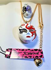 BETSEY JOHNSON  MASK PENDANT & MASK RING  GOLD TONE CHAIN LOBSTER CLAW CLASP