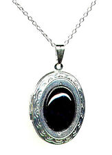*Sale* Genuine ONYX Jet Black Cameo LOCKET Urn Pendant Necklace Silver *Mourning
