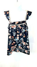 Lily White Women's Blouse Top Sleeveless Sheer Floral Multi-Color SZ Medium NWT
