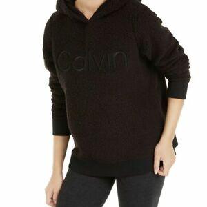 Calvin Klein Performance Women's Relaxed Logo Fleece Sherpa Hoodie Black XL