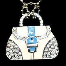 CHIAVETTA USB 4 GB Borsetta Handbag Bag Borsa bianca Blu Strass Gioielli Rimorchio
