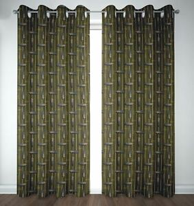 S4sassy Feather Stripe Bedroom Door Treatment Eyelet Curtains -FH-1H