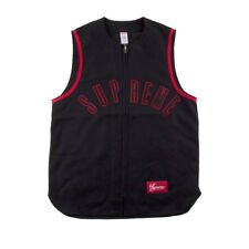 Supreme Mens Wool Zip-Up Baseball Tank Black/Red Size S