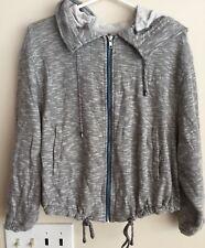 Free People 1970 S  cropped hooded zip sweatshirt in marled gray EUC