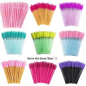 50 Mascara Wands Disposable Eyelash Brushes Lash Spoolie Tool Brush Eye Tatti UK