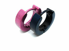TWO SINGLE EARRINGS. ONE BLACK , ONE PINK STAINLESS STEEL HUGGIE HOOP.