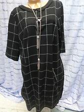 Sheego Vestido Camisa de Jersey Talla 50-54 Negro a Cuadros (564)