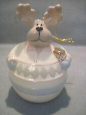 BAUM BROS FORMALITIES PORCELAIN REINDEER BELL CHRISTMAS ORNAMENT