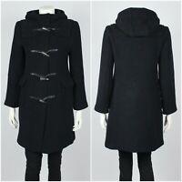 Womens Burberry London Duffle Coat Overcoat Black 100% Lana Wool Size UK6 / USA4