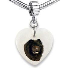 Chow Chow Dog Heart Dangle Mother Of Pearl European Bracelet Charm Bead EBS308