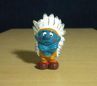 Smurfs Indian Smurf Chief 20144 Vintage Native American Figure PVC Toy Figurine