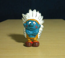 Smurfs Indian Chief Smurf Classic Vintage Figure Toy PVC Peyo Figurine Lot 20144