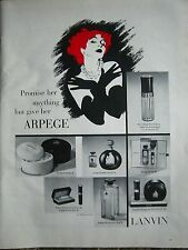 1964 Vintage LANVIN Arpege Bath Powder Perfume Redhead Art Ad