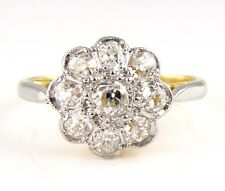 Antique (2.92g) 18ct Gold Diamond Flower Cluster Ring (M) 18k 750