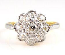 Antiguo Oro 18ct Diamante Anillo Racimo De Flores (M) 2.92g 18k 750