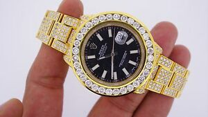 Rolex Date Just II 2 41mm Watch Iced Out 25 Carat Diamonds Gold Plated 116300 !!