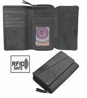 Crumble Womens Black Large trifold Leather Purse Wallet RFID Blocking New