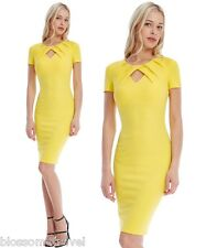 Goddiva Yellow Pleated Front Keyhole Fitted Pencil Cocktail Evening Party Dress 12