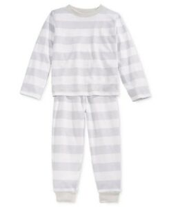 Family PJ's Unisex Boys or Girls Neo Stripe Knit Pajama Set, Gray/White
