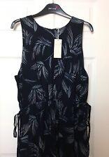 M&S Women PerUna Dark Blue Mix Print Side Tie Chiffon Look Dress Party BNWT S24