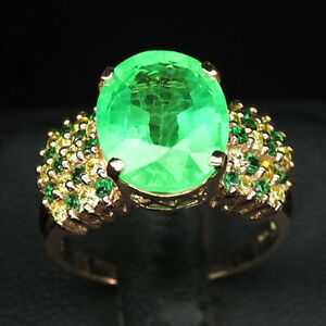 EMERALD GREEN OVAL 7.80 CT. SAPPHIRE 925 STERLING SILVER ROSE GOLD RING SZ 7.25