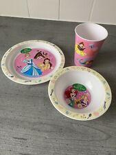 Disney Princesses PP Kids Dining Tableware Set - Plate, Bowl & Tumbler - New
