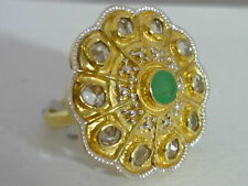 Stunning Large Limited Edition Emerald & Topaz Sterling Silver Ring Size O