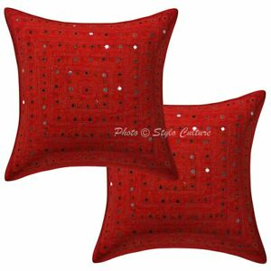 Indian Cotton Geometric Red 40 x 40 cm Embroidered Mirror Lace Pillow Covers