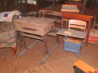 Vintage, Original Primitive Large School Desk, Adolescent, Adjustable Wood Metal