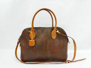 Auth ETRO Paisley Handbag Shoulder Bag Brown/Multicolor PVC/Leather - AUC0242