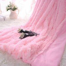 Pink Fuzzy Blanket Throw Thick Soft Big Plush Shaggy Luxury Bedding Blankets